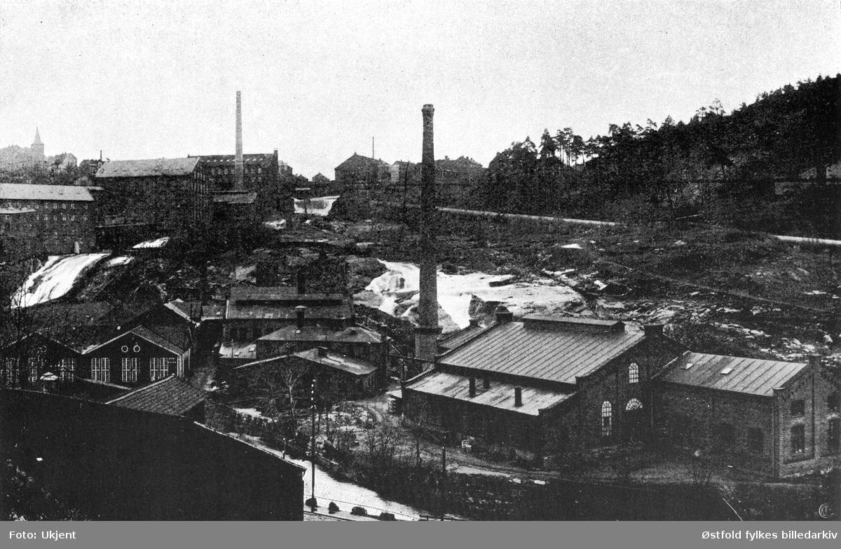Cathrineholm jernverk i Halden og Tistedalsfossen før 1909.