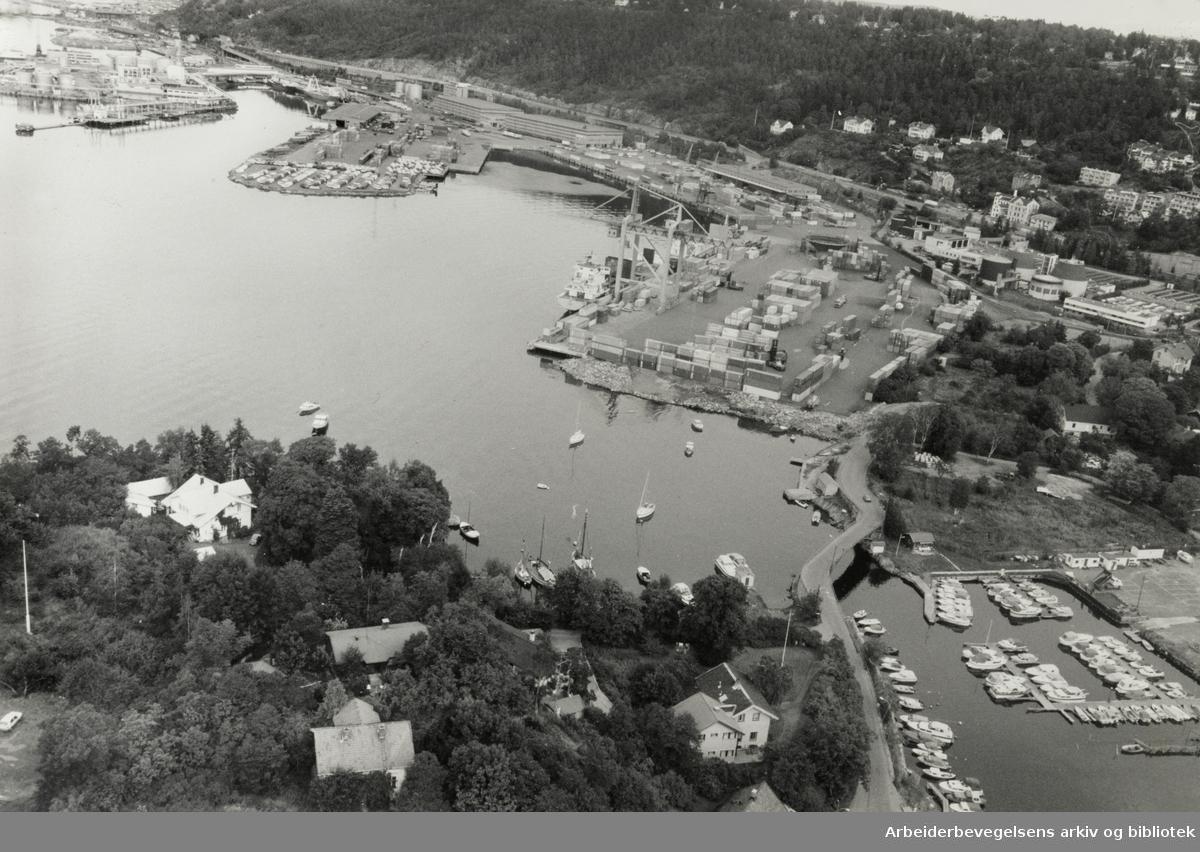 Havna. Flyfoto. Ulvøya. 9. september 1987