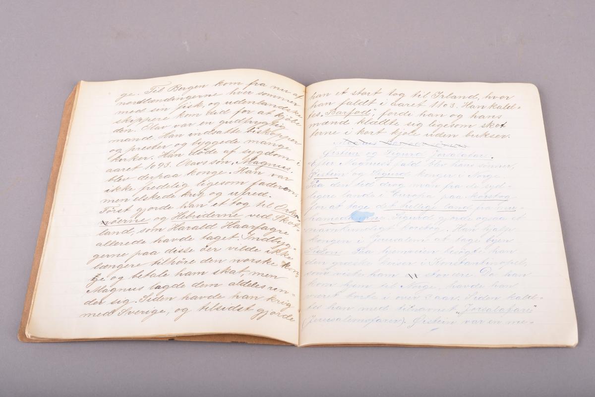 Rektangulært hefte med håndskrevet innhold. Omslag av tykt papir. Sidene er stiftet sammen i ryggen. Ulinjerte ark. Håndskrevet tekst gjort med svart og blått blekk.