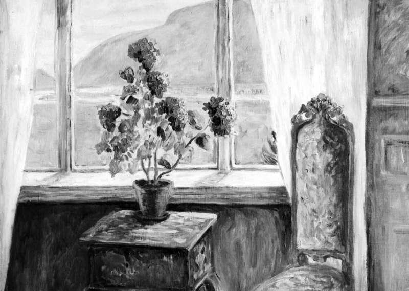 Maleri. Interiør, høyrygga stol med gyldenlær foran bord med blomster i vase, vindu med utsikt over elv og åsrygg. To like negativer