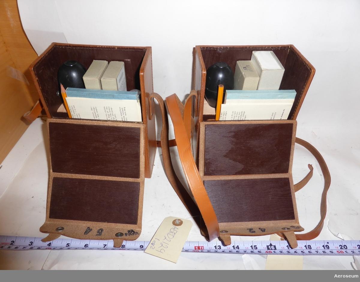 Två stycken läderväskor med koloxidprovare i, med tillbehör. Den ena väskans utrustning är komplett, medan i den andra saknas ett antal delar.   Innehållet i första väskan är: Ett oanvänt anteckningsblock, bruksanvisning, en vässad blyertspenna, en tub med 12 stycken gummihättar, uppsamlingsask med fil, oöppnad ask med ampuller, och en koloxidprovare.  I andra väskan finns det: Oanvänt anteckningsblock, oöppnad ask med ampuller, koloxidprovare, bruksanvisning, en blyertspenna, och en ask i kartong med överstruken ettikett.