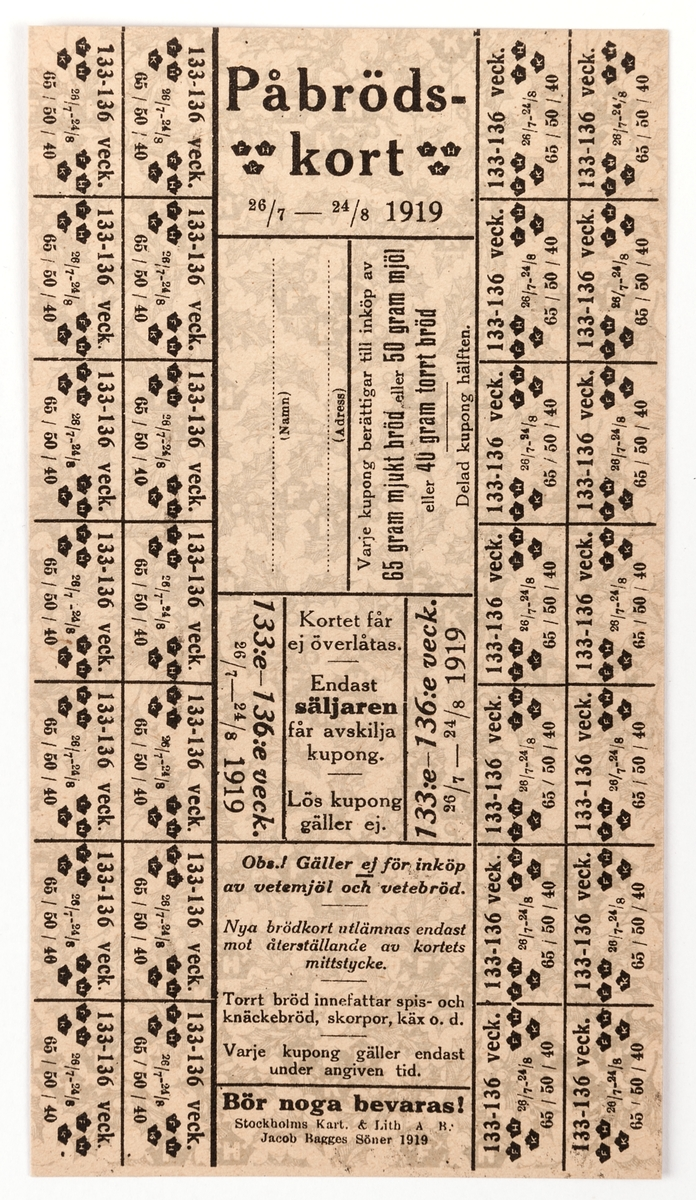 """6 stycken påbrödskort. Gult papper med tryckt mönster i grågrönt föreställande järnekblad och -bär. Tryckt text i svart. Avsedd att användas 26/7-24/8 1919. På baksidan text """"C A Rydin""""."""