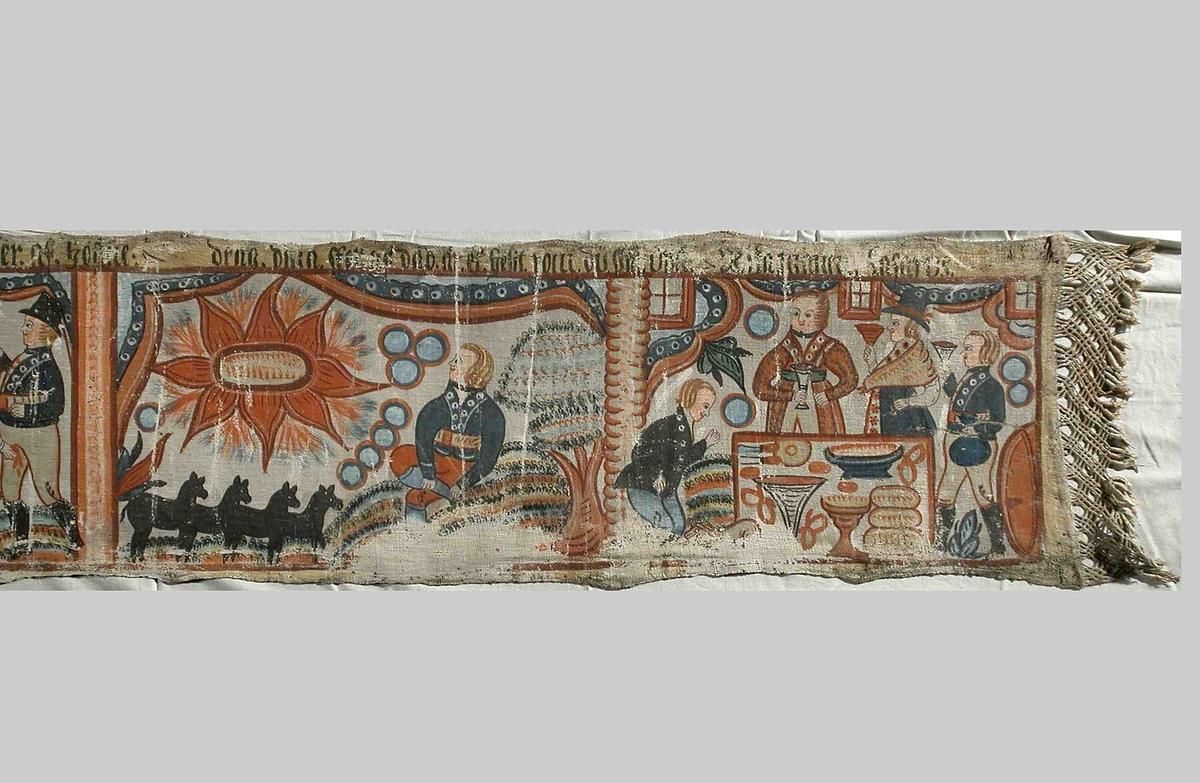 Scen bland annat där Abraham lyfter sin kniv för att offra sin son Isak. En ängel stiger då ner och säger att han inte ska lyfta sin hand mot sonen. I ena hörnet står istället en bagge som han offrar.
