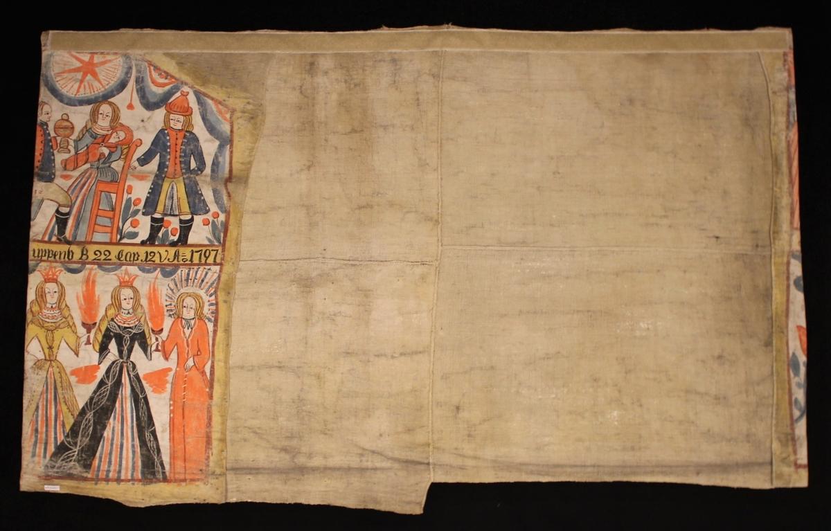 Överst scener med de tre vise männen som uppvaktar Jesusbarnet. Nederst de visa och fåvitska jungfrurna. Ovanför de tre vise männen och ovanför jungfrurna långt språkband.