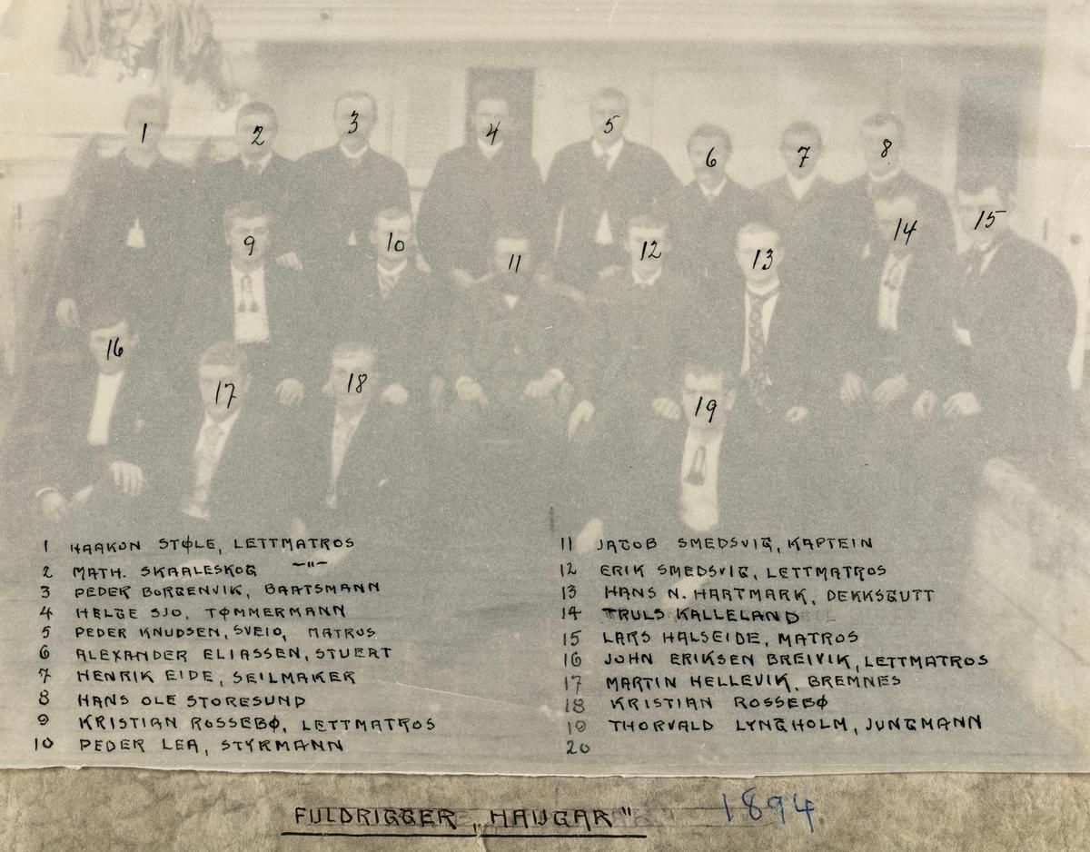 """Mannskapsbilde - Fullrigger """"Haugar"""" 1894"""