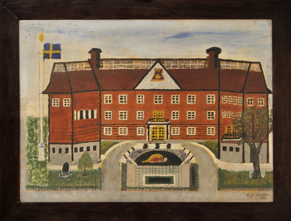 "Målning, olja: ""Gefle Museum"". Sign. C. J. Carlsson 1942."