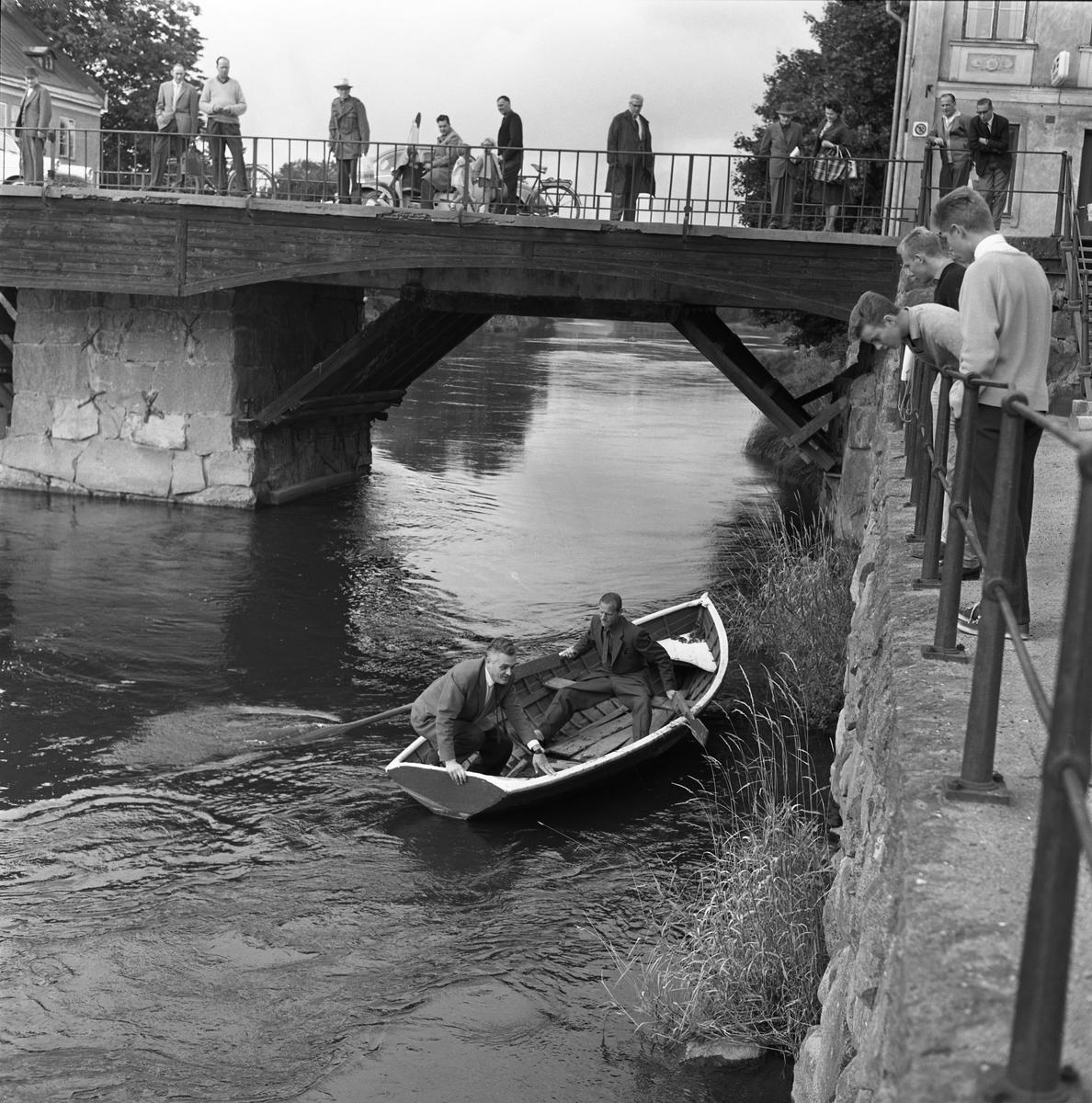 En katt har fallit i ån! Polismännen tar räddningsbåten för att komma till undsättning. Ragnar Hedin ska fånga in Måns och Ivan Pettersson sköter årorna. Publik har samlats på Kapellbron och Labron.