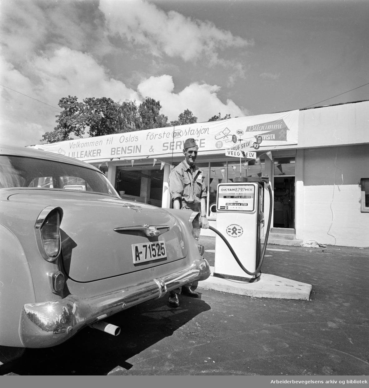 Lilleaker. Bensin og Service-stasjon. Juni 1962