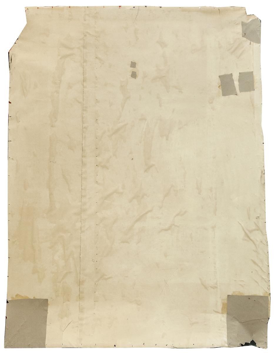 Del av väggmålning. Limfärg på papp. Två pilastrar och målat väggfält. Holme med slott, hamn med skepp och tunnor samt en rökande man. Två soldater och en hund.