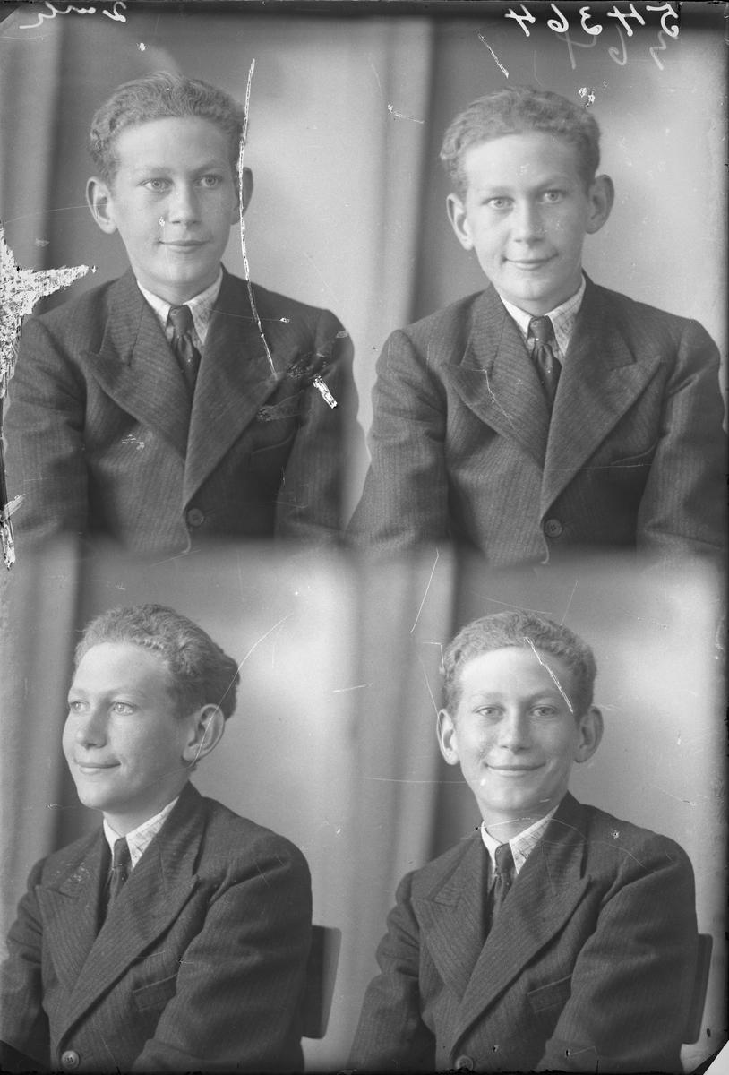 Portrett.  Ung mørkblond mann i mørk stripet dress, lys mønstret skjorte og mørkt slips, Bestilt av Einar Greve. Skjold.