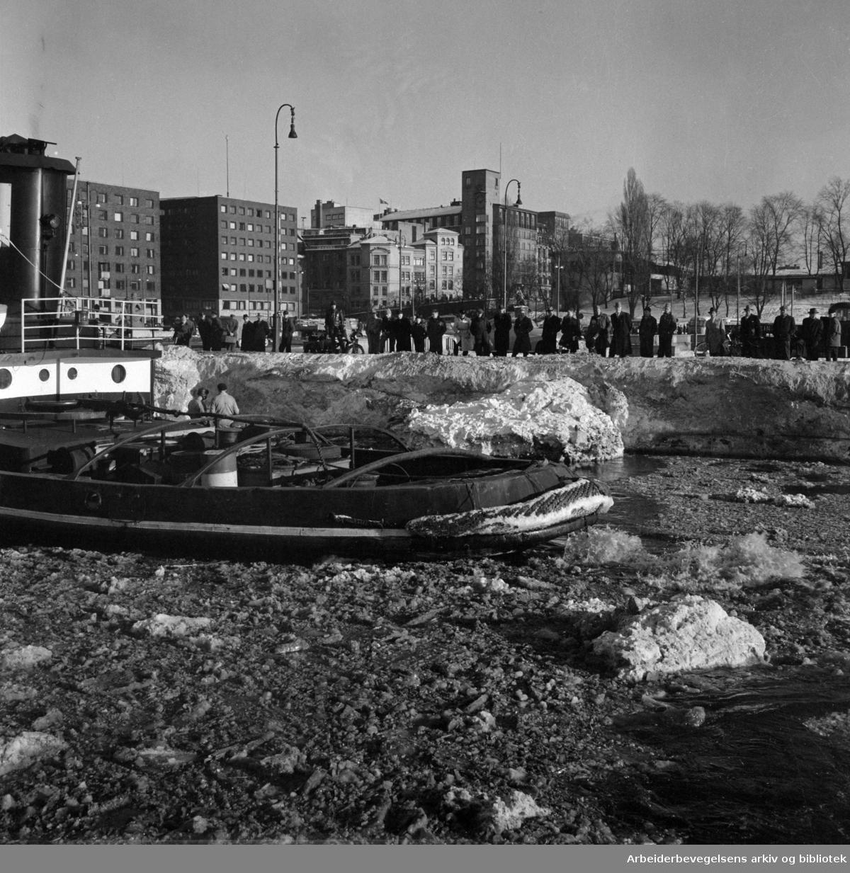 Vinter i Oslo. Rådhusplassen sett fra Rådhusbrygge 3. Rådhusgata med blant annet Rederiforbundet og restaurant Skansen i bakgrunnen. Isbryter og tilskuere. Skuelystne. Mars 1954