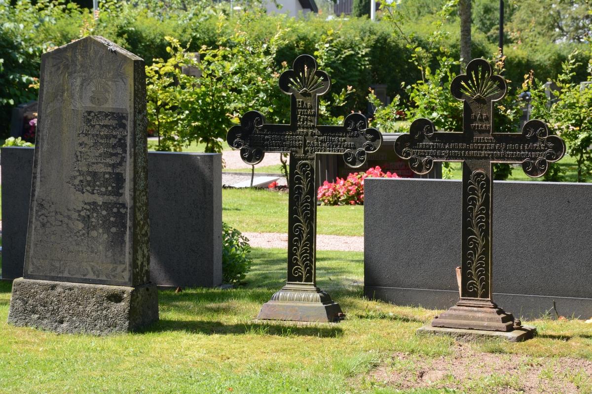 Gravvårdar vid Anderstorps kyrkogård, Anderstorps socken, Gislaveds kommun.