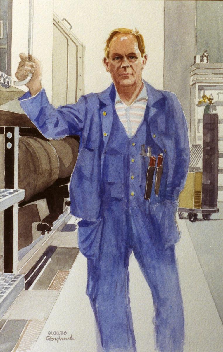 Olle Berggren. 1991.09.30. AGEVE. Georg Englunds akvareller av/till arbetarna i Gävle när AGEVE flyttade 1993. En utställning i Paris 1993. Akvarellerna ställdes även ut i lunchrummet på AGEVE.