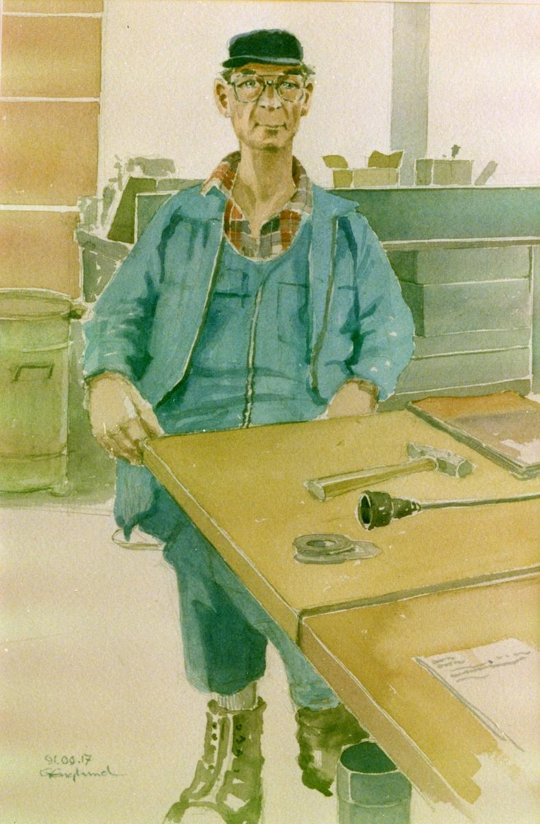 Lars Andersson. 1991.03.17. AGEVE. Georg Englunds akvareller av/till arbetarna i Gävle när AGEVE flyttade 1993. En utställning i Paris 1993. Akvarellerna ställdes även ut i lunchrummet på AGEVE.