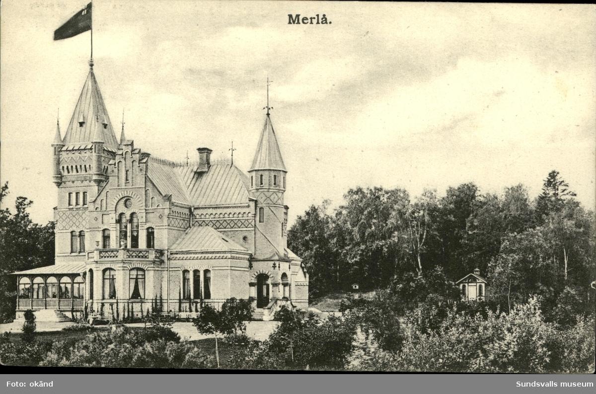 Vykort med motiv över Merlo i Timrå.