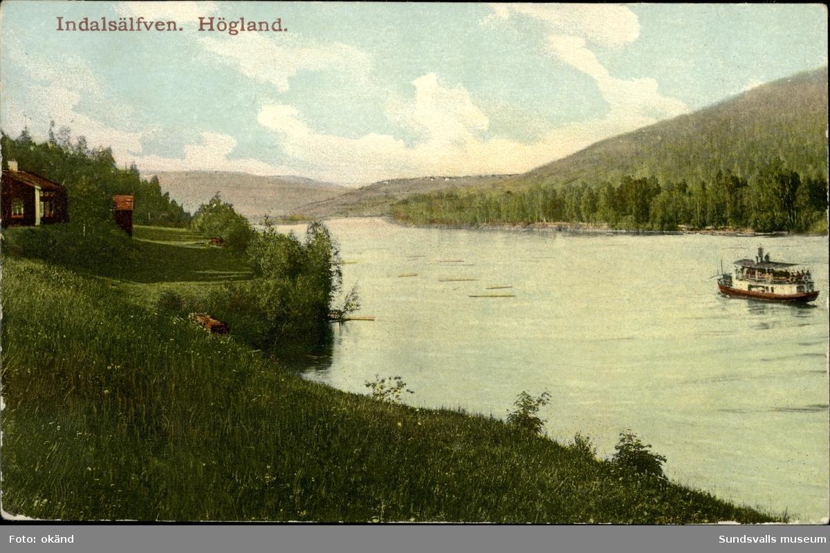 Vykort med motiv över Högland vid Indalsälven.