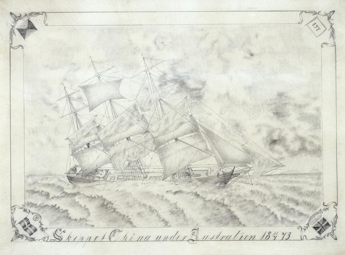Teckning av Carl Lage Einar Key, daterad 11/7 1873.
