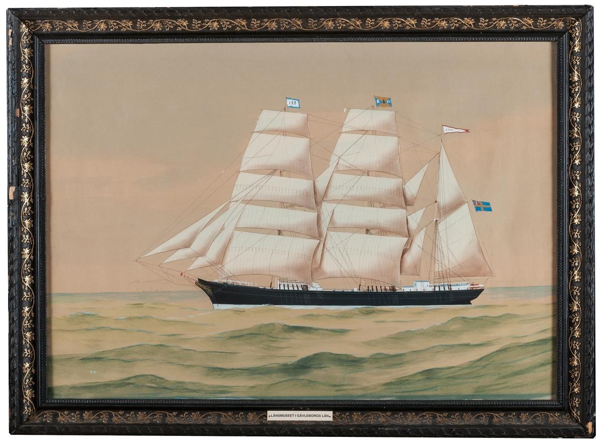 Akvarell av barkskeppet Chili, rederi P C Rettig & Co. Signerad E. W.  Svart ram med guldslinga. GM11532a och b har samma lappkort, men är två olika tavlor.