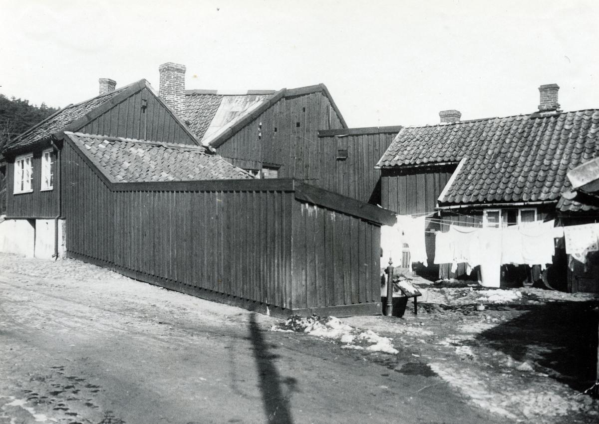 Brunnsgatan, Halmstad. Gamla hus vid Brunnsgatan, rivna 1931.