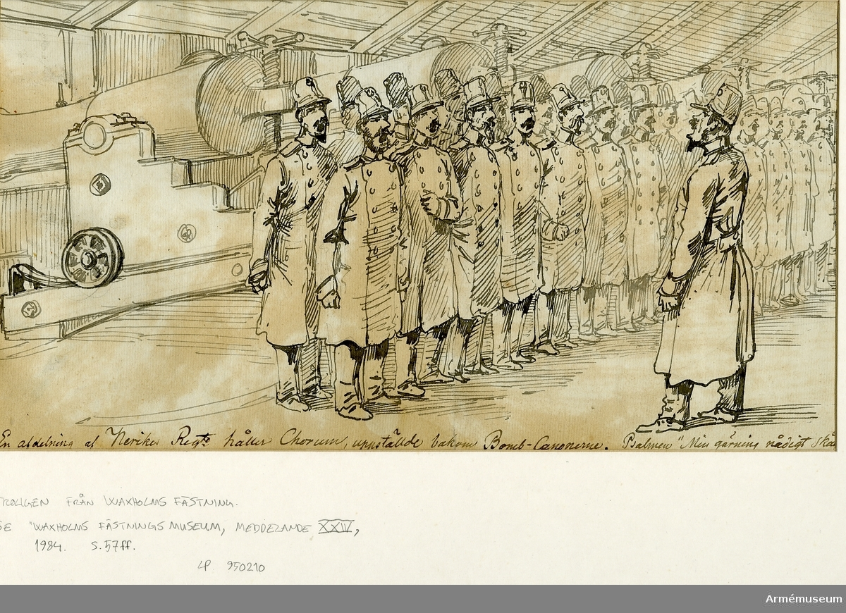 """Grupp M I. Teckning av Alexander Wetterling föreställande """"En afdelning av Nerikes Reg:te håller korum, uppställde bakom Bomb Canonerne""""."""