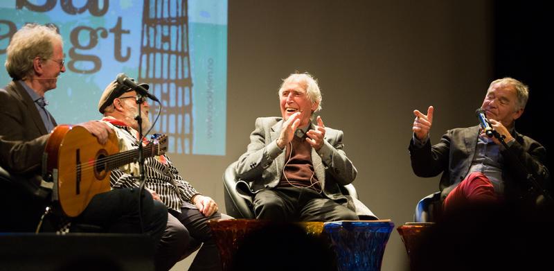 Øystein Sunde (fv), Sid Jansson, Alf Cranner og Lars Klevstrand på Rockheim scene i 2017, i forbindelse med utstillingen Ei vise er så mangt. Foto: Elise Maalø. (Foto/Photo)