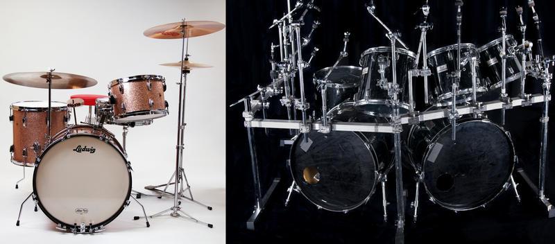 Ludwig til venstre, Pearl Super-Pro til høyre. Foto: Rockheim. (Foto/Photo)