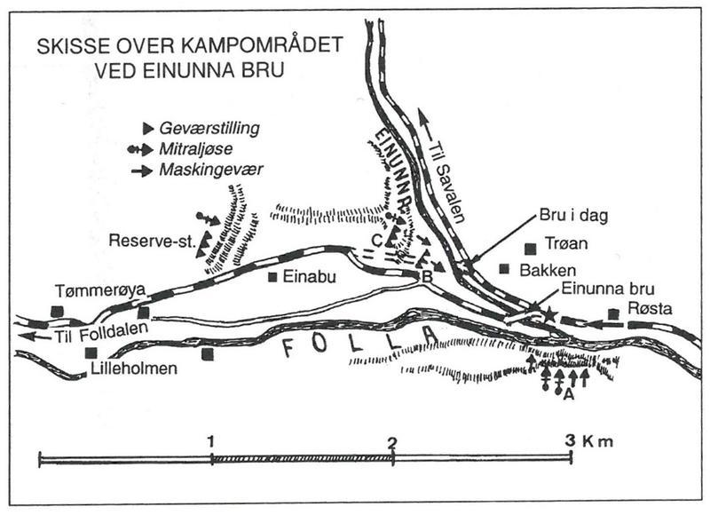 Kart over kampområdet ved Einunna bru. Fra Grandum: Fra felttog til frigjøring i Nord-Østerdalen.