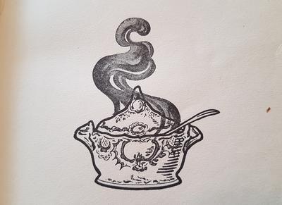Gryte som koker; illustrasjon fra en oppskriftsbok.