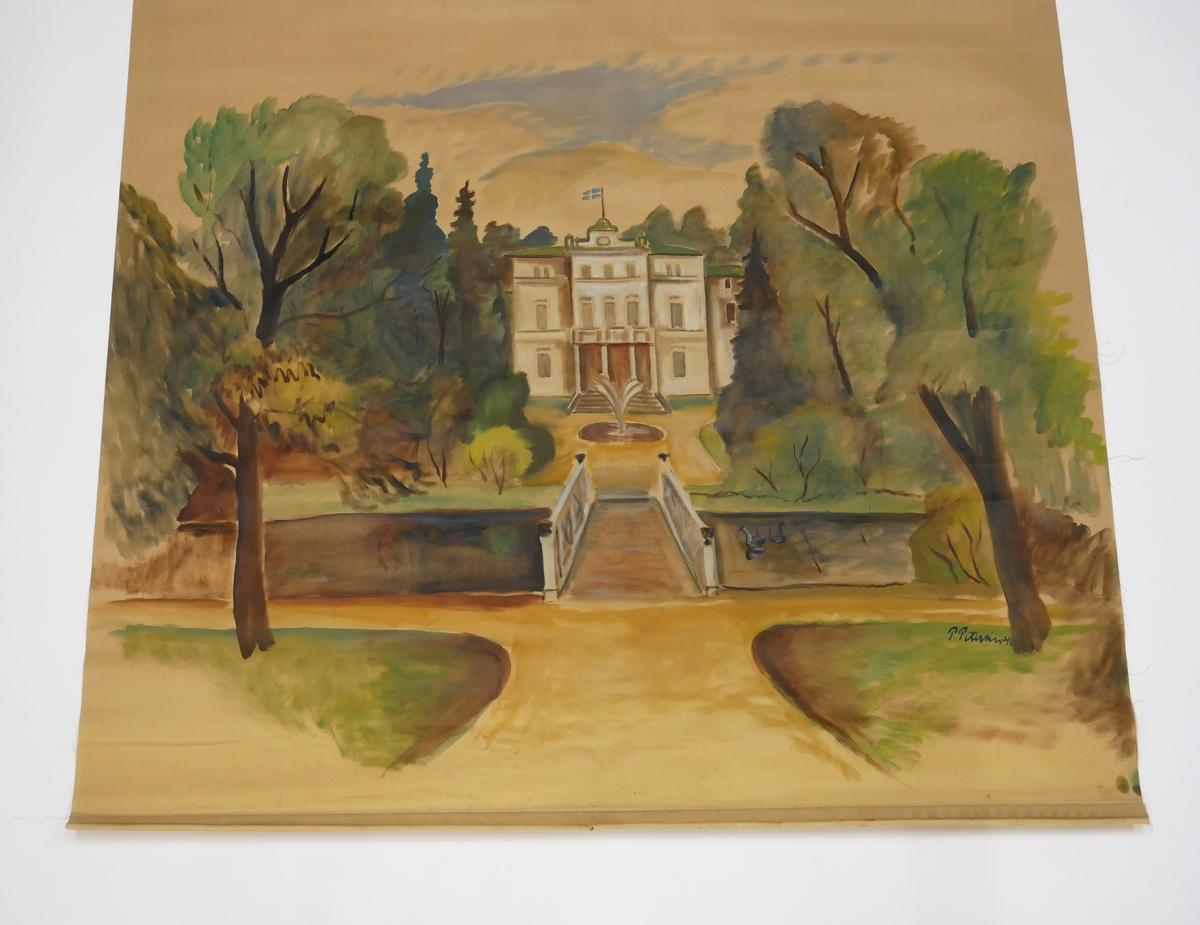 """Rullgardin med målat motiv föreställande Nolhaga slott i Alingsås. Målningen är utförd av Paul Petersén och signerad """"P. Petersén -40"""". Rullgardinen är fäst med spik på en rullgardinskäpp av trä. På käppen sitter en etikett med texten """"HAGLUNDS ECLIPSE MEKANISK RULLGARDINSKÄPP"""""""