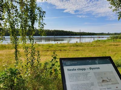 Foto av natur og kultursti ved Glomma