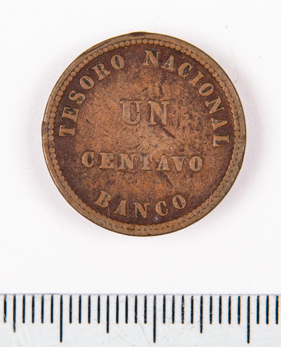 Mynt från Argentina, 1854, 1 centavo.