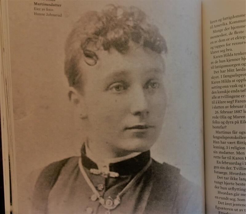 """Foto av Karen Hilda Martinusdatter i faksimile fra boka """" Den are sia"""" av Vera Wold. (Foto/Photo)"""
