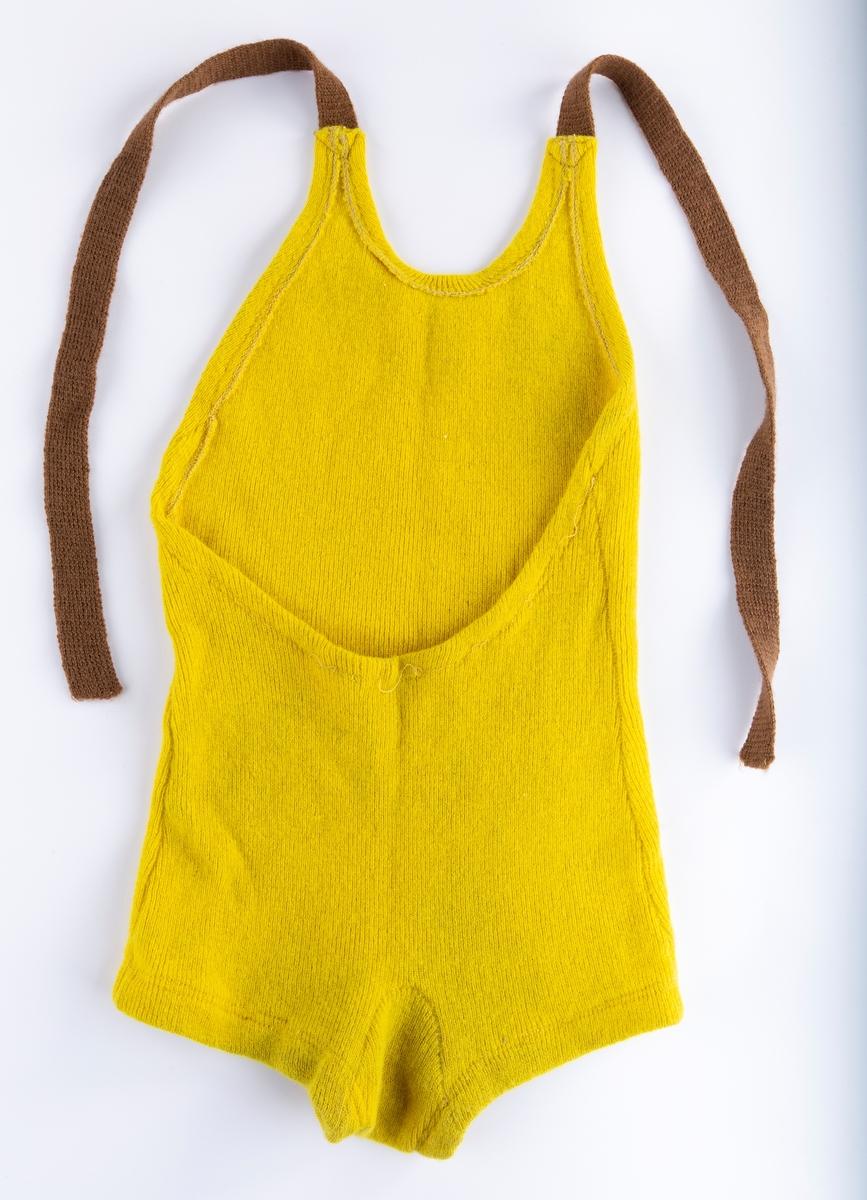 Hel ribbestrikket barnebadedrakt  Remme over skulder med knepping bak
