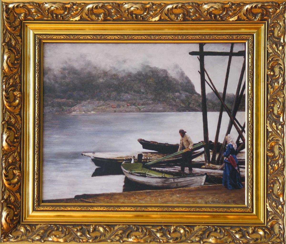 Fjordlandskap med robåter og to personer.