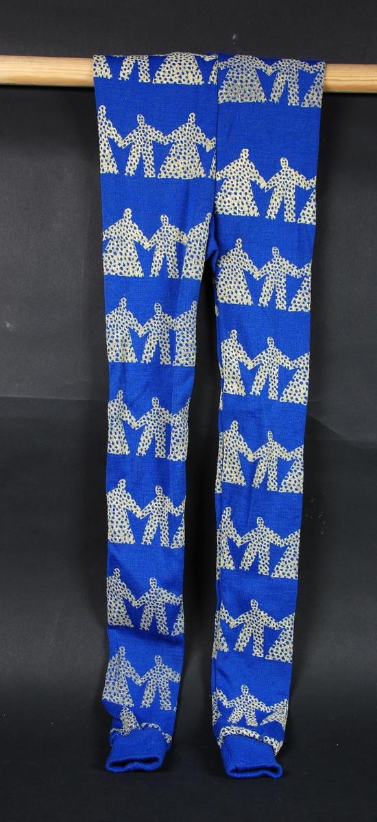 Blå og hvit stillongs til vettedrakt. Menneskefigurer som holder hverandre i hendene utgjør dekoren på longsen.