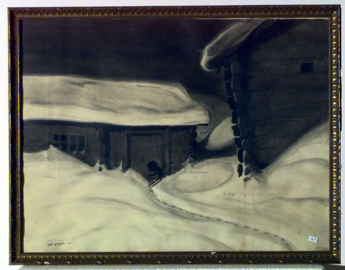 Nattlig bilde fra en gård, sannsynligvis Romundgard på Sel. Mylingen (utburden) banker på døren.