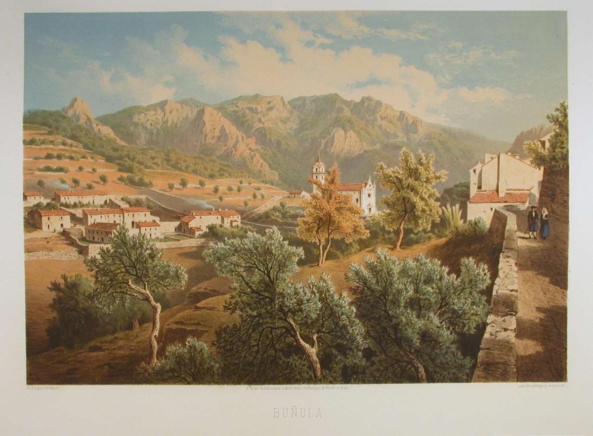 Landskap med landsby