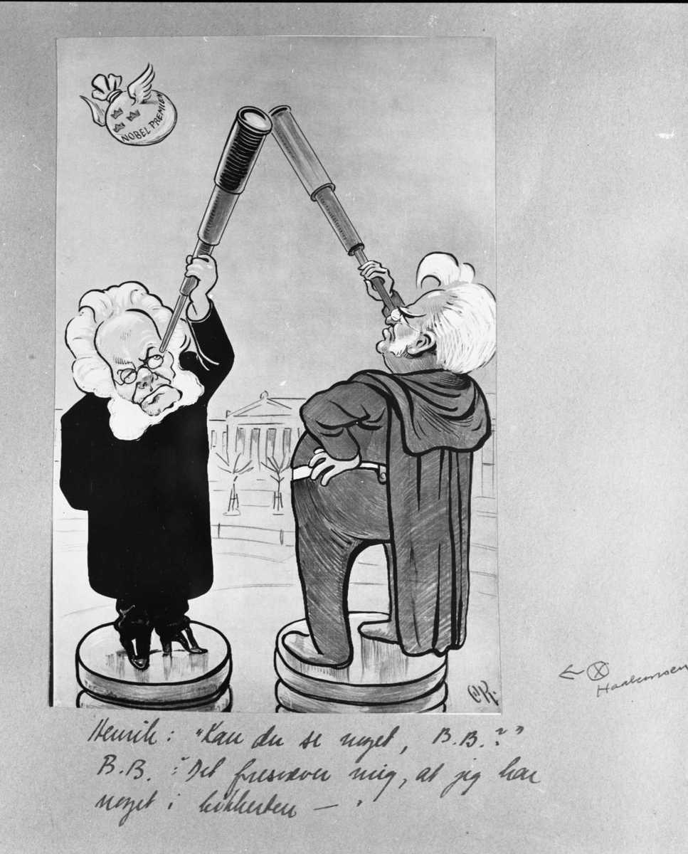 Karikatur, Stjernekikkere, Ibsen, Bjørnson, Nobelpremie,
