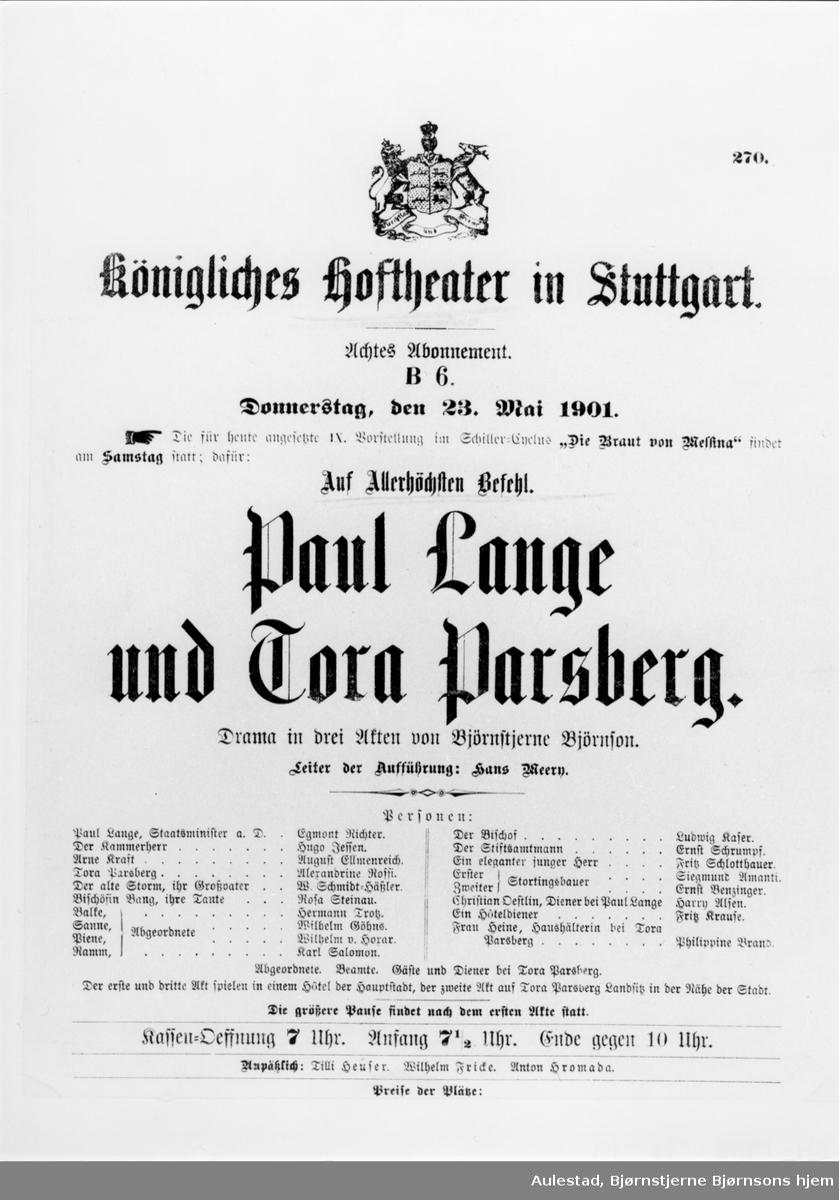 """Gjenstand, BA-01655, teaterplakat, """"Paul Lange..."""", Tyskland,"""