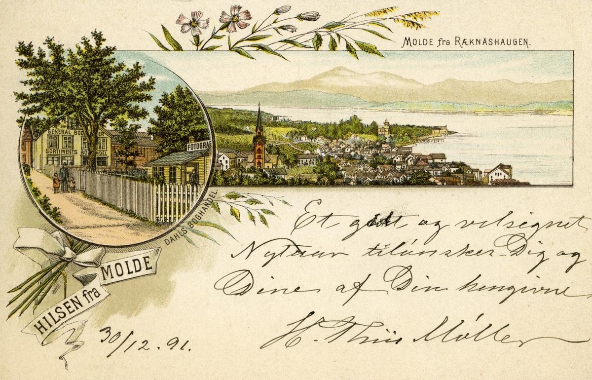 Tegnet kort fra Molde, hilsen til Bjørnson,