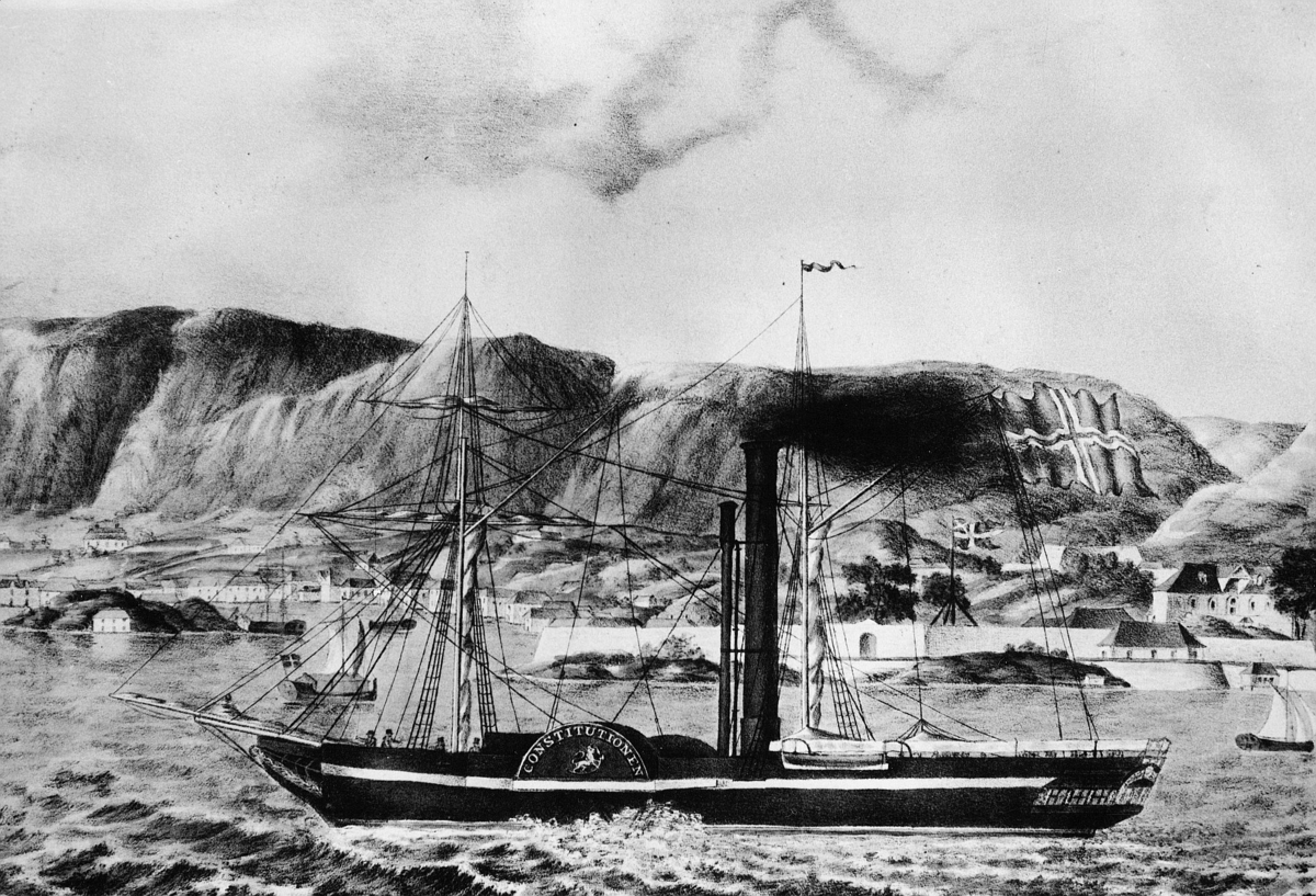 transport, båt, dampskip, eksteriør, Constitutionen, Bergen