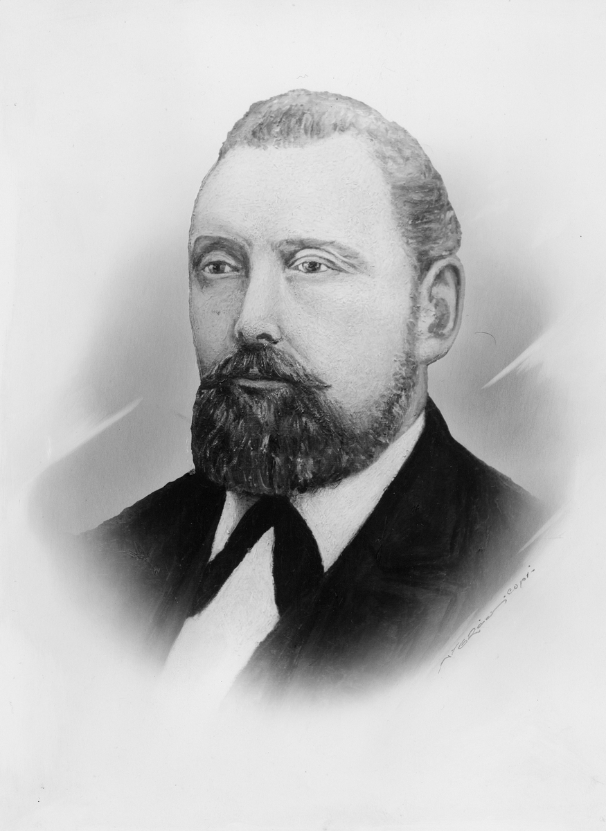 portrett, mann, postmester, Wilhelm Julius Dahl