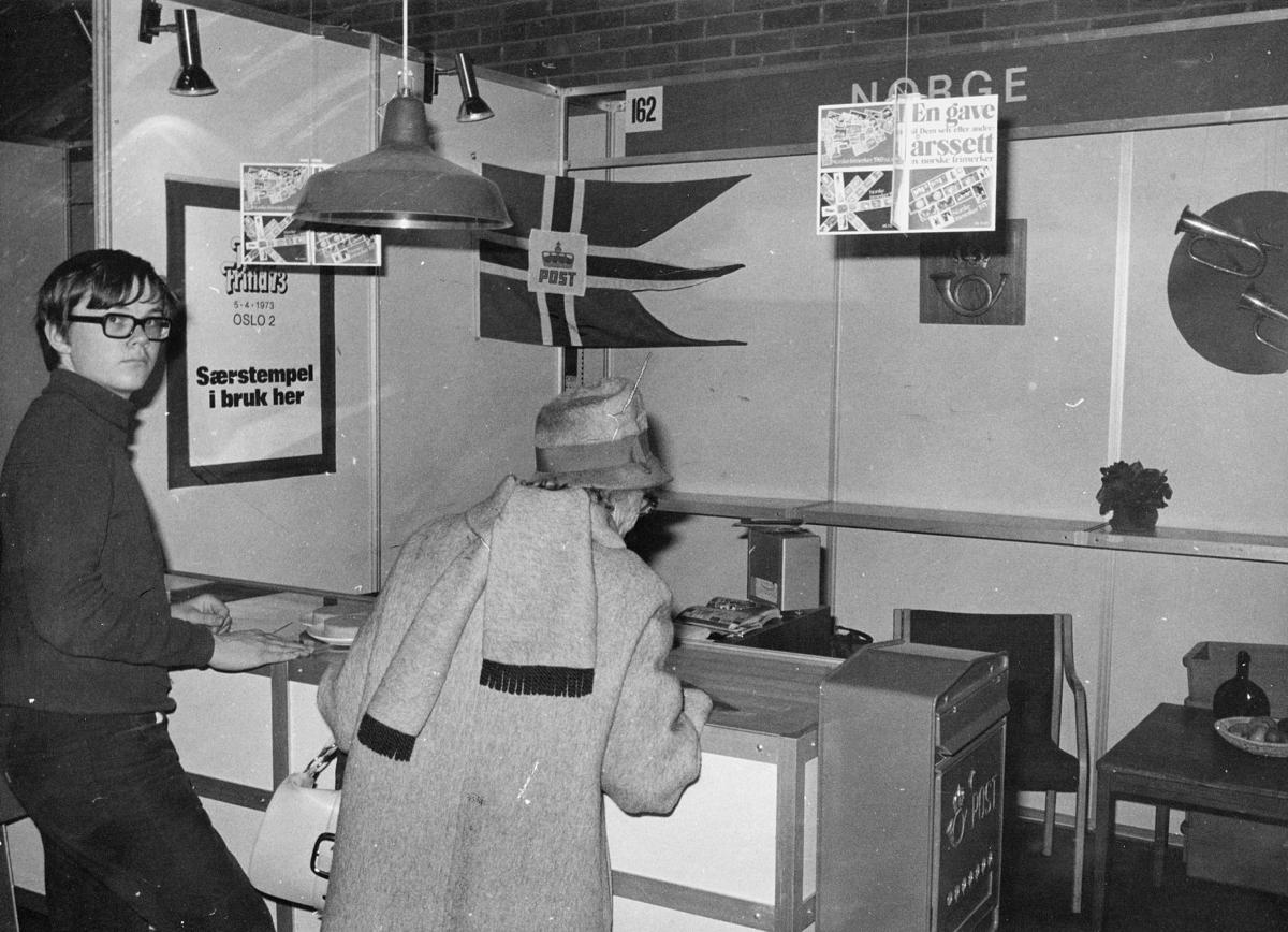 markedsseksjonen, ferie og fritid 5.4.1973, Oslo 2, filateli, postflagg, postkasse, posthorn, postskilt, norsk stand