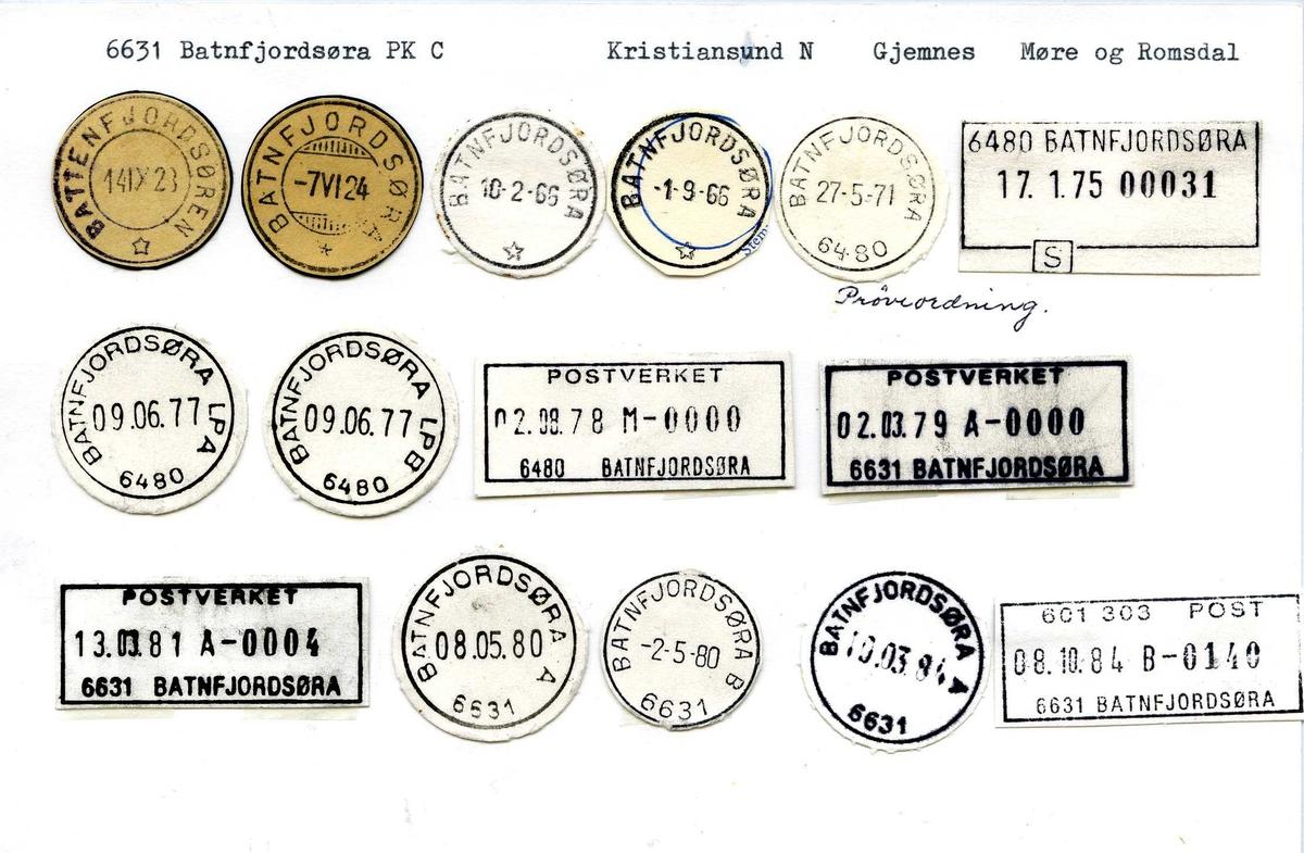 Stempelkatalog, 6631 Batnfjordsøra postkontor C. Kristiansund N. Gjemnes kommune. Møre og Romsdal fylke.