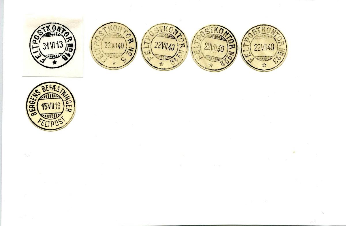 Stempelkatalog, Bergen feltpostkontor nr.18, nr. 5, nr. 19, nr. 22, nr. 23,  nr. Bergens befestninger. Bergen. Hordaland.