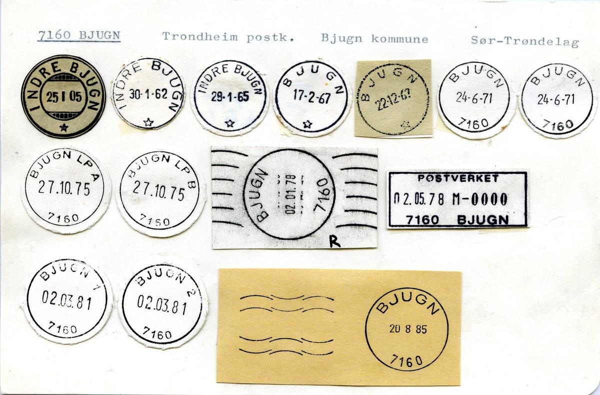 Stempelkatalog, 7160 Bjugn, (Indre Bjugn), Trondheim, Bjugn, Sør-Trøndelag