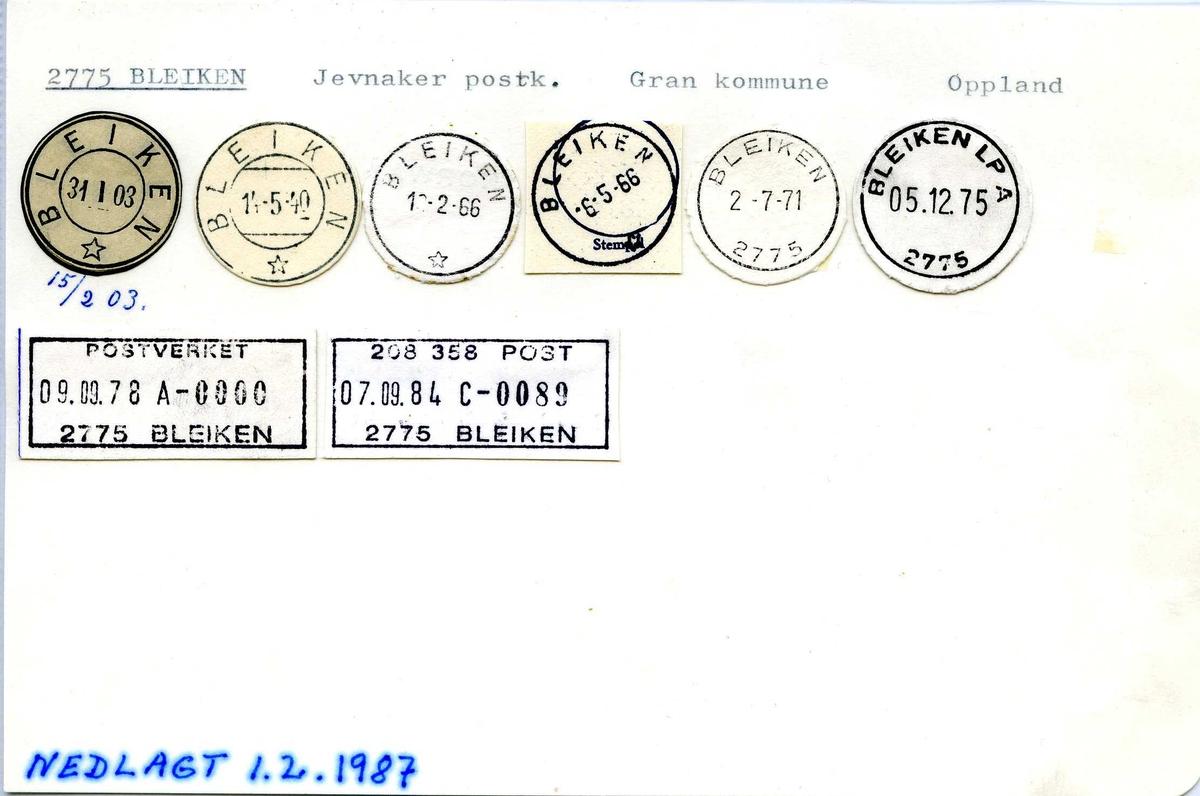 Stempelkatalog, 2775 Bleiken, Jevnaker postk. Gran kommune, Oppland