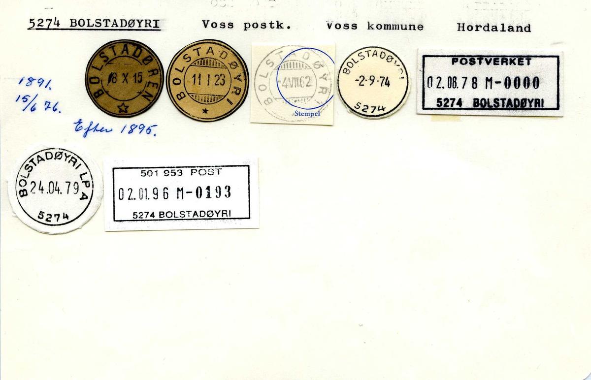 Stempelkatalog, 5274 Bolstadøyri, Voss postk., Voss kommune, Hordaland (Bolstadøren)
