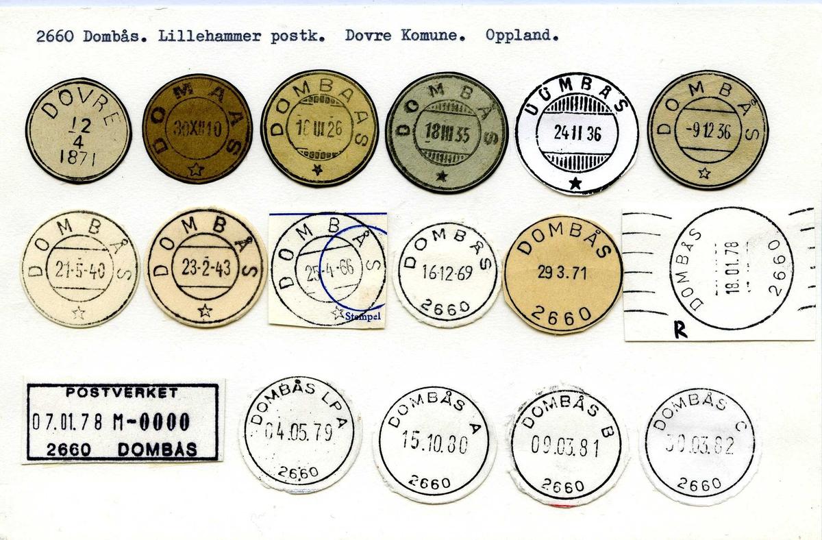 Stempelkatalog, 2660 Dombås, Lillehammer postk., Dovre, Oppland