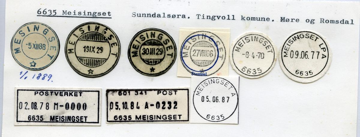 Stempelkatalog  6635 Meisingset, Tingvoll kommune, Møre og Romsdal